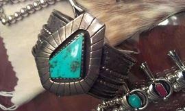 Geometric turquoise cuff, very heavy