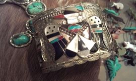 Zuni signed turquoise, coral & MOP very wide cuff