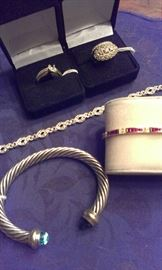 Selection of 2 Diamond 14k yellow gold wedding sets, 14k white gold diamonds bracelet, 18k yellow gold ruby w diamonds bracelet & D Yurman Blue Topaz gemstones 14k y gold/sterling 7mm cable bangle, all Presidium tested
