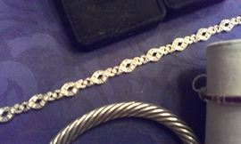 Diamonds* set in 14k white gold vintage bracelet, Presidium tested