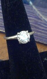 1 ct DIAMOND* solitaire Tiffany setting 14k white gold ring, any lady would want !!! * Presidium tested w current Appraisal