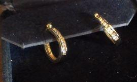 14kt yellow gold w DIAMONDS channel set, earrings