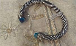 David Yurman DIAMONDS Blue Topaz gemstones* 14kt y gold/sterling 7mm cable bangle bracelet- * Presidium tested