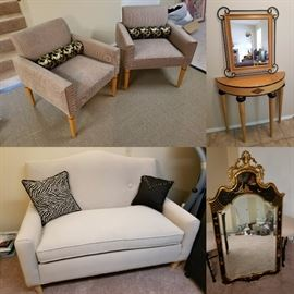 Expressions chairs and sofa Half moon accent table with mirror