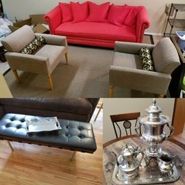 Crate and Barrel Sofa, ottoman, silver plate tea set and accent chairs