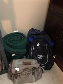 Sleeping bag, totes, and backpack