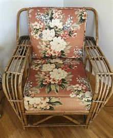 Heywood Wakefield Rattan Chair includes ottoman