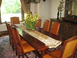 STUNNING SOLID WOOD TRESTLE DINING TABLE WITH 8 CHAIRS