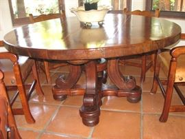 ROUND SOLID MESQUITE KITCHEN TABLE WITH 6 LEATHER CHAIRS