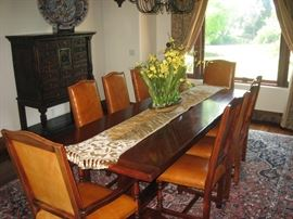 SOLID WOOD TRESTLE DINING TABLE WITH 8 CHAIRS