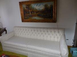 Custom Made Tufted White Silk Brocade Sofa