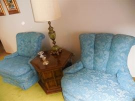 Vintage Blue Silk Brocade/Lace Custom Made Relaxed Arm Chair (pair). Vintage Octagon Occasional Table with Storage
