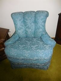 Custom Made Gorgeous..and Comfy Blue Lace/Brocade Relaxed Arm Chair