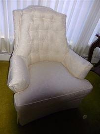 Custom Made Tufted Back White Silk Brocade Arm Chair