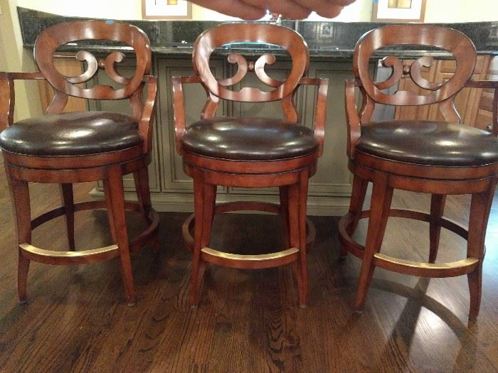 Set/3 Heavy wood/leather barstools, by Woodbridge Furniture Co.