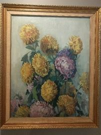 "Vintage, original oil painting of mums, the national choice of funeral directors; measures 2' 2"" x 2' 9""."