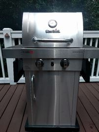 "Stainless steel Char-Broil ""Commercial"" propane outdoor grill."