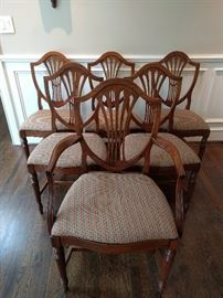 Set/6 vintage mahogany dining chairs, by Landstrom Furn. Co.