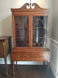 "1940's mahogany china hutch, by Landstrom Furniture Co., Rockford, IL., measures 5' 5"" T x 3' 2"" W x 1' 4"" D."