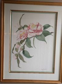 "1 0f 4 original watercolors, ""Grace Albritton Camellia"", by Wesley G. Hicks; measures 2' 3"" x 2' 10""."