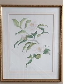 "1 0f 4 original watercolors, ""5th Avenue White Camellia"", signed by Wesley G. Hicks; measures 2' 3"" x 2' 10""."