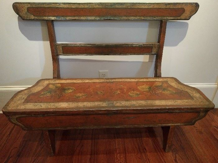 Vintage Asian hand painted bench.