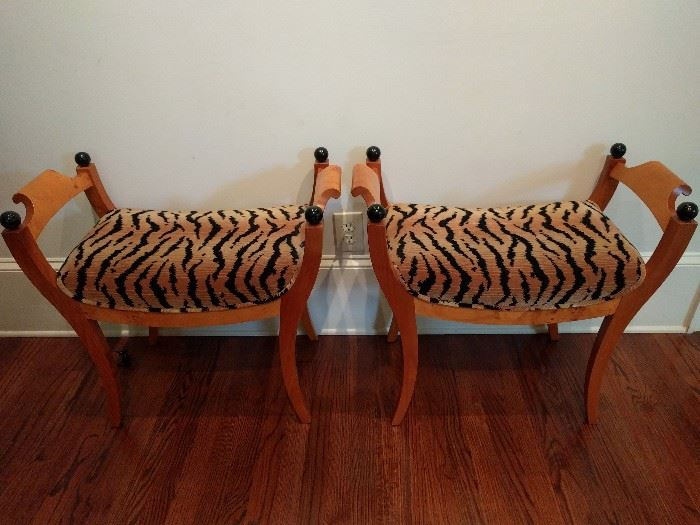 NICE pair of Bedermier-ish stools, with fabric that your favorite cougar will LOVE!