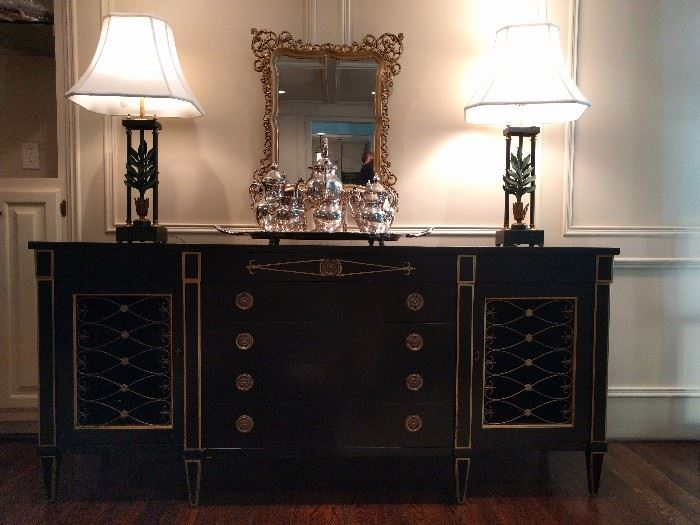 Lovely, vintage Drexel black/gold Italian chest, with wire door screens and brass drawer pulls.