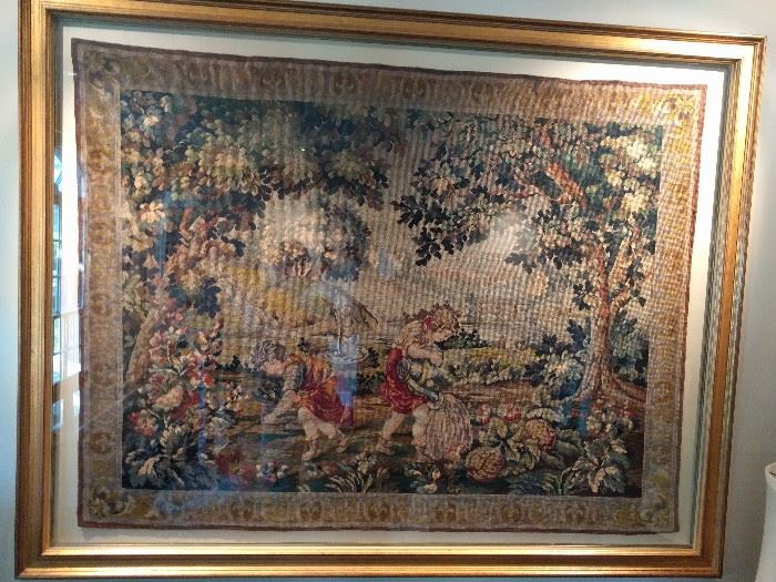"This is a gorgeous, vintage French tapestry in a huge frame; measures 6' L x 4' 8"" T.                                       Next pic has a detailed close-up."