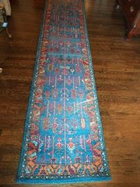 Vintage Persian design Gabbeh runner, hand woven, 100% wool face, measures 2-8 x 12-7.