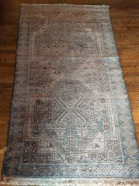 VintageAfghan tribal Baluch rug, hand woven, 100% wool face, measures 6-3 x 3-7.