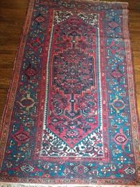 Vintage Persian Hamadan rug, hand woven, 100% wool face, measures 6-5 x 4-3.