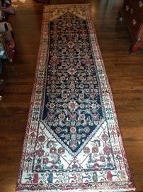 Vintage Persian Sarouk runner, hand woven, 100% wool face, measures 3-4 x 11-9.