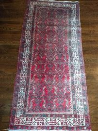 Vintage Persian Herati runner, hand woven, 100% wool face, measures 2-9 x 6.