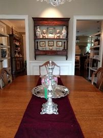 Dining room, with mahogany hanging plate rack.