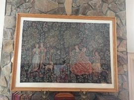 Another HUGE, well-framed French tapestry, 5' wide x 3 1/2' tall.