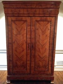 "Antique French Armoire, with beautiful veneers, measures 7' 9"" tall x 2' deep x 4' 9"" wide."