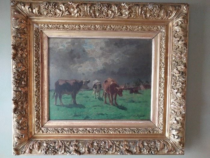 "Antique (1890's), artist signed ""Pazant"" oil painting, in hand carved gold frame."