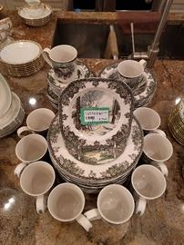 "48-piece set of Johnson Brothers (England) ""Friendly Village"" china."