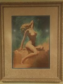 "Vintage Marilyn Monroe ""Lady in the Light"" Lithograph, by Earl Moran 1970, #120, well racked, I mean framed and matted."
