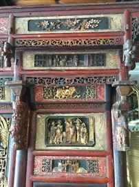 Chinese Wedding Bed - closeup of carvings