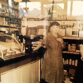 Antoinette Allaire Allen- the first Post Master (Mistress) in the Country!  (Note the Norge Refrigerator in the Background...  the very same one offered for sale here!)