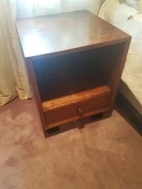 Authentic 1960s Herman Miller bedroom set features three chests, desk, nightstands, small cabinet and queen size bed.