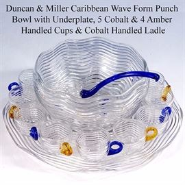 Glass Duncan And Miller Caribbean Punch Set With Ladle