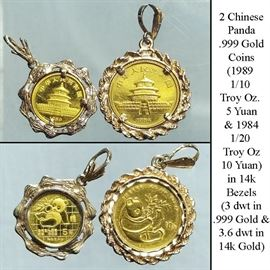 Cur Coins Gold Chinese Panda Five And Ten Yuan In Bezels