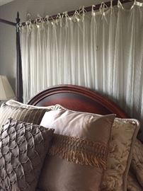 Queen poster bed with canopy - mattress set also available, custom duvet set and pillows - excellent condition!