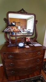 Gorgeous antique dresser and mirror with Quoizel Tiffany-style lamp     LIVING ROOM