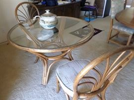 Bamboo glass top table-2 chairs $ 125 set