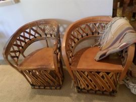 Pr. Mexican leather/ wood chairs