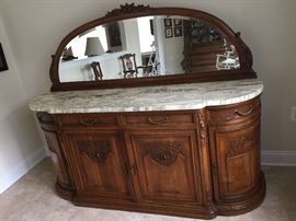 "Exquisite marble top server with mirror, has key. From New York. 6 feet long, 21"" wide, base height 35"", mirror height 26"""